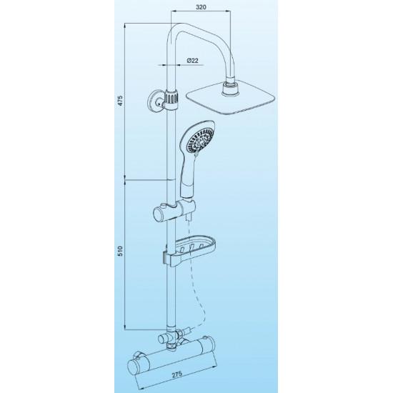 Sanotechnik set doccia con rubinetto termostatico AS410